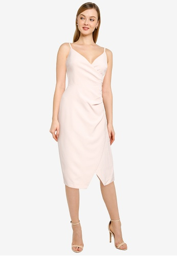 Forever New pink Alexa Ruched Wrap Pencil Dress 11E9FAAB43DC80GS_1