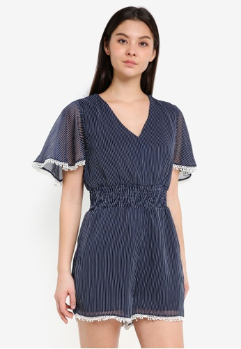 Cotton On white and navy Woven Laura Flutter Sleeve V-Neck Playsuit C2D3CAA4A14056GS_1
