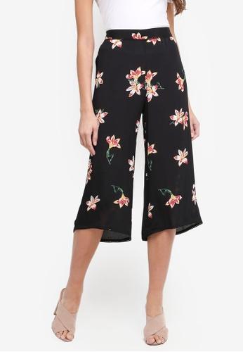 Miss Selfridge black Petite Black Printed Wide Leg Trousers 7CEACAA296898EGS_1