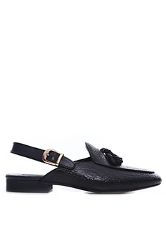 92eaef330 Zeve Shoes black Zeve Shoes Mules Slingback Strap - Black Croco Leather  With Tassel DE48ESHE188061GS_1