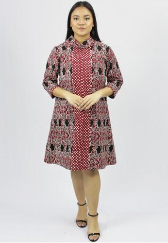 House of Kain red Dress Batik Katun Gorga 9F3B3AA42FEEFCGS_1