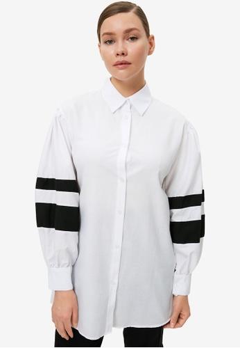 Trendyol 白色 拼接Tunic 襯衫 E4B13AA3C51028GS_1