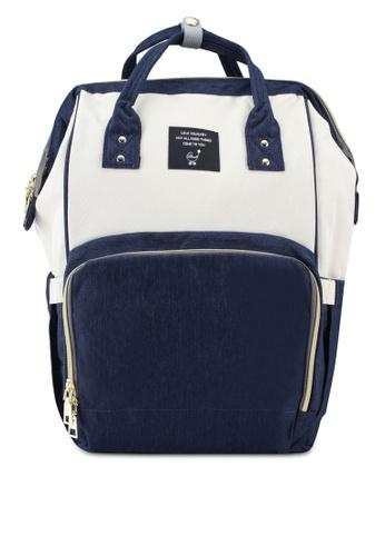 Bagstationz navy Color Block Travel Diaper Backpack 849DEAC74EF52EGS_1