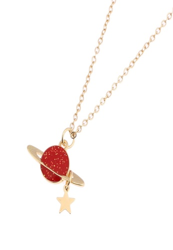Kimberley red Saturn and A Star Charm Necklace KI026AC83KFGPH_1