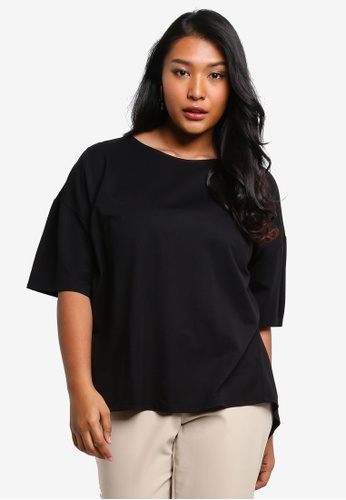 Ex'otico black Plus Size Boat Neck Top 0D946AA1BE27CEGS_1