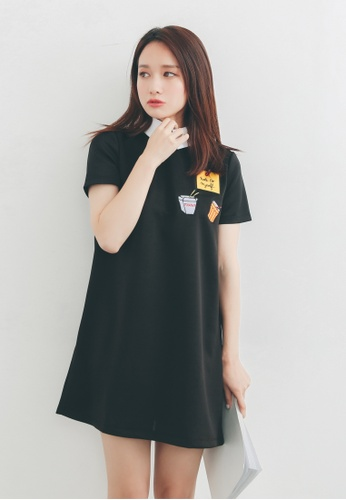 Shopsfashion black Fast Food Embroidery Shift Dress SH656AA86PGJSG_1