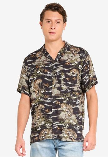 H&M black and multi Patterned Resort Shirt 2C0D1AA78E8EC2GS_1