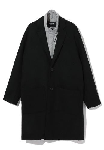 Fivecm black Zip up placket lined long coat A7756AA595A9E9GS_1