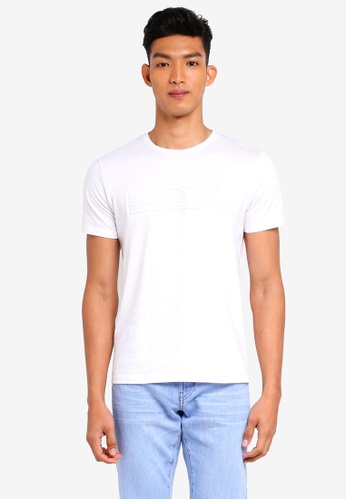 ESPRIT 白色 短袖流蘇印花T恤 D07B4AAE1FAC3EGS_1