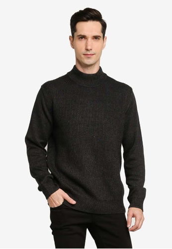 French Connection black Mixed Rib High Neck Jumper 1BB04AAF678A25GS_1