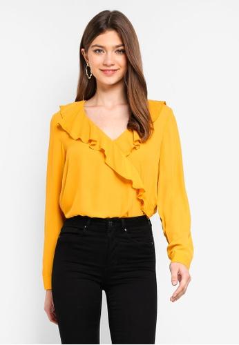 ONLY yellow Intu Frill Wrap Shirt 54590AAA8B6AC6GS_1