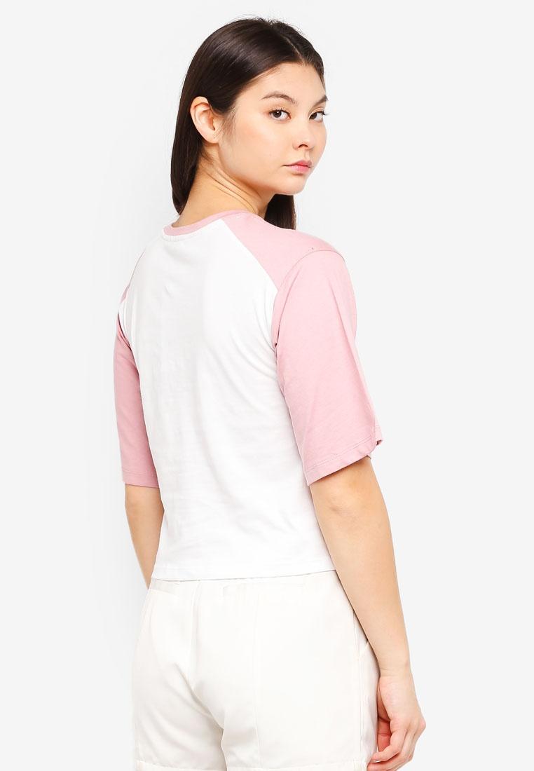 With Logo Off Something White Tee Borrowed Raglan Contrast Sleeves Blush XgX7qwFY