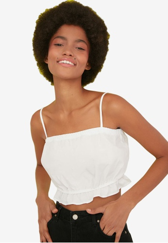 Trendyol white Strappy Gathered Crop Top 9BE58AA22CAC2AGS_1