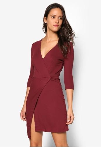Ponte 低胸裹飾洋裝, 服飾esprit 折扣, 服飾