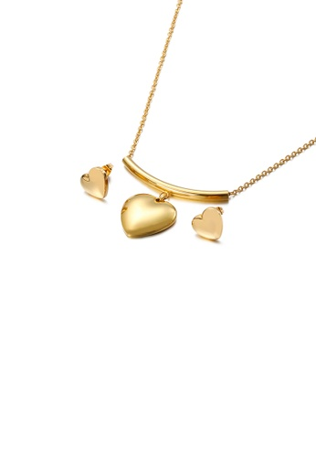 Glamorousky silver Fashion and Simple Plated Gold Heart-shaped 316L Stainless Steel Necklace and Stud Earrings Set C6C2FAC64B1023GS_1