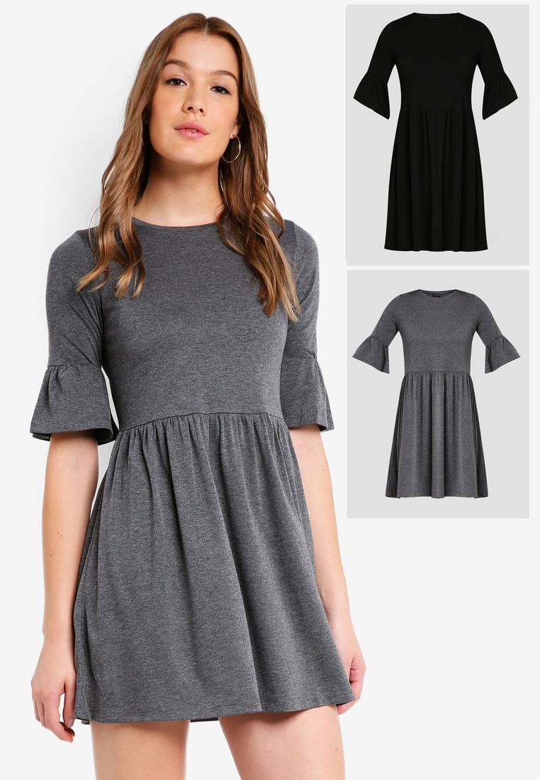 Dress 2 Ruffle BASICS Black pack Sleeves Shift ZALORA Marl Basic Grey EXqnwXFWr