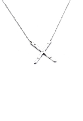 Glamorousky white Fashion Personality English Alphabet X 316L Stainless Steel Pendant with Cubic Zirconia and Necklace EA7B3ACC56B884GS_1