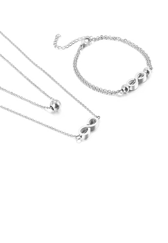 Glamorousky silver Fashion and Simple Infinity Symbol 316L Stainless Steel Double Layer Necklace and Bracelet Set 48001AC1EBE204GS_1