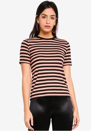 TOPSHOP pink Stripe Premium Clean T-Shirt 4A07FAAA6DF598GS_1