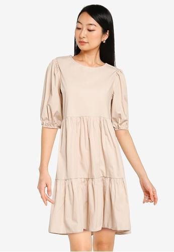 KOTON beige Short Puff Sleeves Dress 00F8BAA64EC64BGS_1