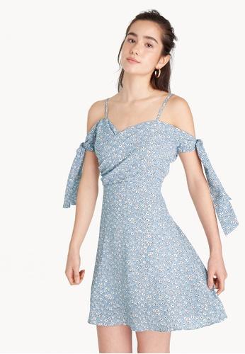 Pomelo blue Mini Floral Cold Shoulder Dress CB156AA0D6547EGS_1