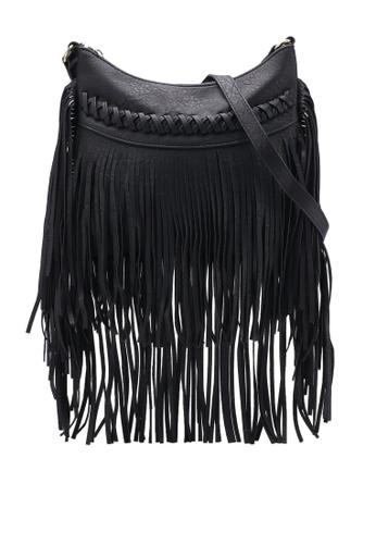 Unisa black Fringe Crossbody Bag UN821AC80FFNMY_1