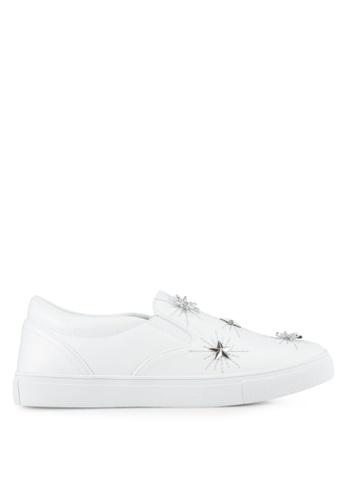 Something Borrowed white Star Studded Embellished Slip-Ons E9FE0SHE38EFCEGS_1