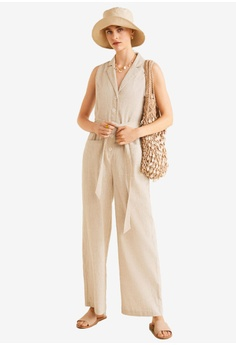 8c48c15e0ef4 MANGO beige Long Linen-Blend Jumpsuit 93E96AAA1CB0E6GS 1