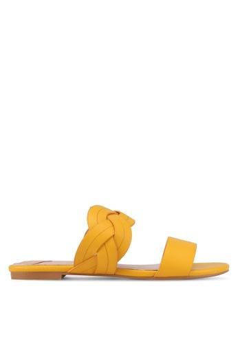 Velvet yellow Braided Strap Sandals 2DAD6SH5FDA8E4GS_1