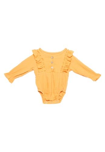 RAISING LITTLE yellow Solinas Ruffled Long Sleeves Playsuit 4ADA2KAE922679GS_1
