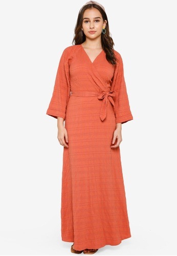 Lubna pink Wrap Dress With Tie Sash 52ECEAADE0AD95GS_1