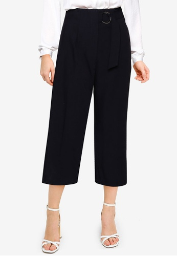 FORCAST navy Rory High-Waisted Belted Pants 93247AA9BAB257GS_1