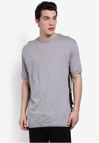 Topman grey AAA Grey Longline Taping T-Shirt TO413AA0RFPJMY_1