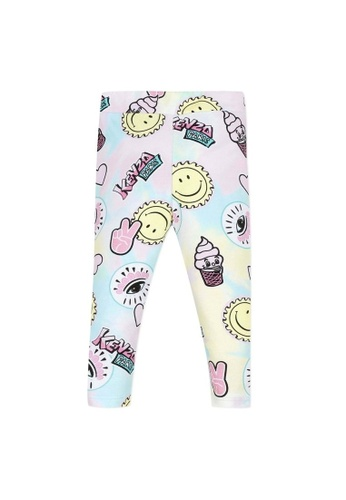 KENZO KIDS pink and yellow and blue and multi KENZO BABY GIRLS LEGGINGS 20C34KA7404136GS_1