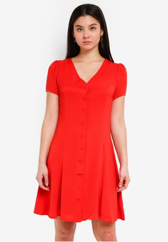 ICHI red Beech Dress F651CAA656681BGS_1