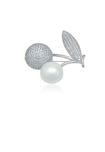 Chomel white and silver Simulated Pearl Cherry Brooch C8B23ACAEFAC4DGS_1