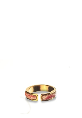 CSHEON red and gold 14K GOLD PLATED RING WITH GENUINE STING RAY SKIN RED 21FA7ACB7712E9GS_1