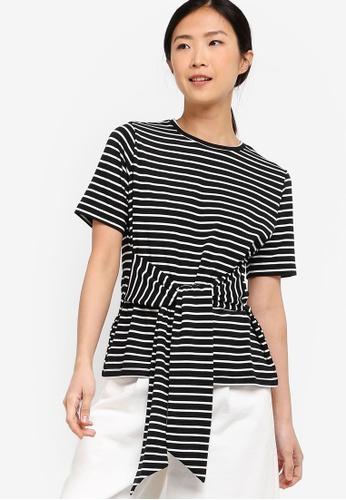 ZALORA BASICS black and multi Basic Tie Front T-Shirt 7AD7BAA10B050EGS_1