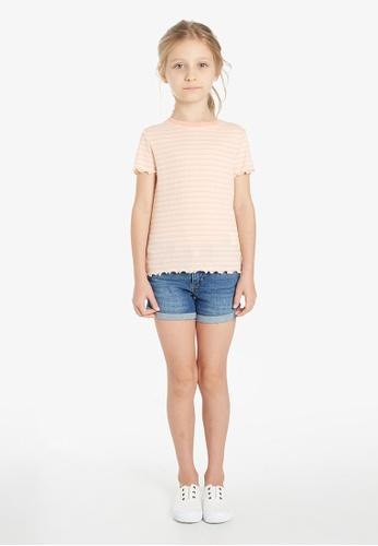 Gen Woo pink Striped rib basic T-shirt 6654CKA3E03D34GS_1