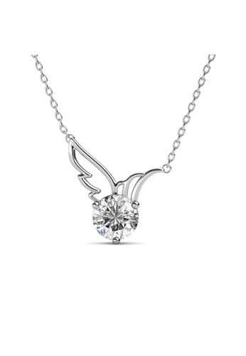 Her Jewellery silver Swarovski® Crystals - Wing Pendant  (18K White Gold Plated) Her Jewellery HE581AC0R9WAMY_1