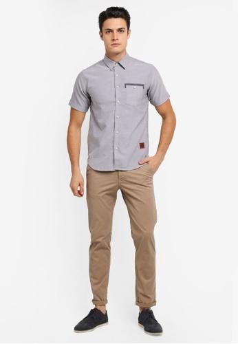 Volkswagen 灰色 Volkswagen Cotton Short Sleeve Woven Shirt VO089AA0SKGQMY_1