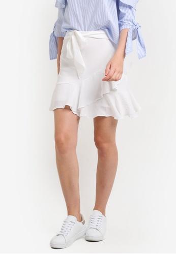 TOPSHOP white Ruffle Tie Mini Skirt TO412AA74ERHMY_1