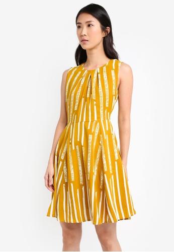 ZALORA yellow Pleated Neckline Dress A0BECAA960C792GS_1