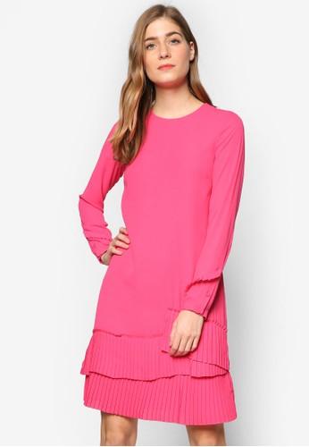 褶飾層次下擺長袖esprit 鞋連身裙, 服飾, 洋裝