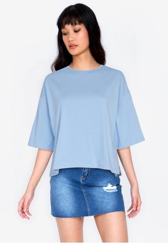 ZALORA BASICS blue Side Split T-shirt 564DEAA98734E3GS_1