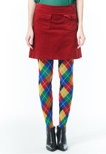 United Colors of Benetton red Miniskirt in Stretch Velvet AFA40AAB9DD6DAGS_1