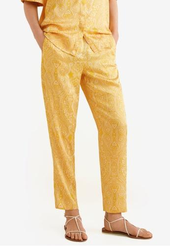 Mango yellow Paisley Print Trousers D129CAA35108D6GS_1