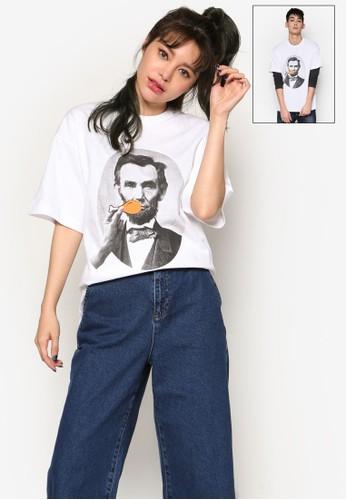 林肯圖案T zalora taiwan 時尚購物網恤, 服飾, 上衣