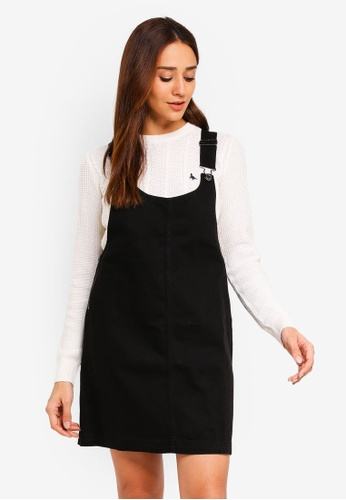 Jack Wills black Westlea Dungaree Dress 3588AAAD705FF9GS_1