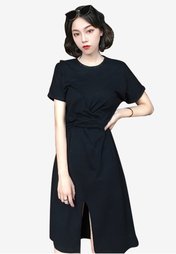 Lara black Round Neckline Short sleeves Slits One piece Dress FA3D2AA8E708BAGS_1